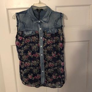 Denim/ sheer floral shirt